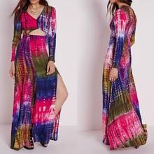 Custom Design Ladies Tie Dye Multicolor V-neck Long Sleeves Slit Maxi Dress