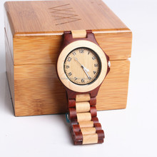 2015 Classic Men Watch Bamboo Red Sander Wood Watch Case Natural