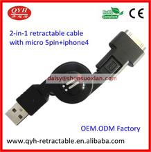 2015 hot 2 in 1 charging and data transfer cable 2.0 usb cable for Iphone 4s/computer/android mobile phone