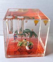 Acrylic Cube Shape Liquid Snow Globe, Cubic Glass Pen Holder