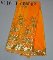 V116-3 orange african velvet lace fabric wholesale