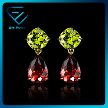 Wholesale 18K Gold Plated Olive&Red Amazing CZ Drop Earring
