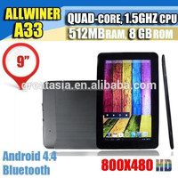 9 inch Quad core Android 4.4 Tablet PC AllWinner A33 512M 8GB Capacitive Touch Screen