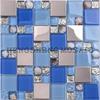 HD26 New Design Kitchen Wall Decoration Seashell Blue Glass Mosaic Mirror Tile