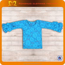 Girls Blank Ruffle Long Sleeve T Shirts Top Rose Flower Design Girl Baby Fall Boutique Style Childrens Clothing