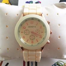 YX6001 Classic Chronograph Geneva Ladies Platinum Silicone Rubber Band Watches