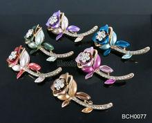 Zinc alloy mixed colors rhinestone flower brooch