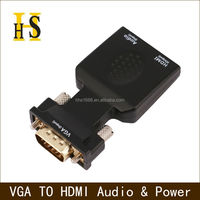 New vga male to hdmi female converter adapter with 3.5mm audio for Computer DVD vga to hdmi adapter support usb power