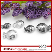 XD P328 925 sterling silver handmade fish spacer beads thailand silver jewelry