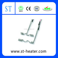 Single-point and double tube heaters for hot runners