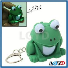factory price custom Frog Decoration with LED Flashlight & Sound Effects Keychain Chain for Bag Keys