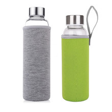 double wall sports glass water bottle with protective bag