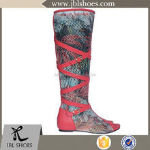 16 inches meshed fancy lady summer long boot shoes over knee platform heel