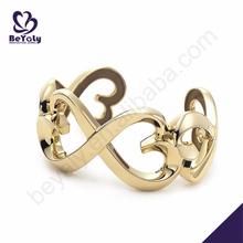 Fancy women hollow gold plated silver bow bracelets