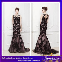 Elegant Mermaid Boat Neck Sleeveless See Through Back Floor Length Black Beaded Applique Wedding Dress WD085