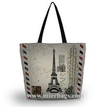 women's effiel tower printed tote shopping bag