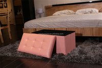 Quality leather storage ottoman with concave and convex cover