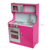 HT-DK008 60x29.5x(H)88cm E1 MDF Dark Pink Girls Wooden Kitchen Toy With ABS Plastic Accessories, Role Play Wooden Toy Kitchen