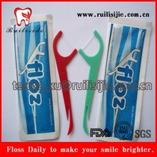 Individual wrapper dental floss pick with personal logo printing for single use