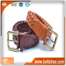 Factory wholesale newest braided genuine leather belt waist belt with gold pin buckles