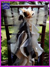 New Fancy Organza Ruffled Chair Sash Wedding Curly Chiavari Chair Cap