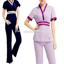 2015 high quality hot sell newest design thai spa uniform salon spa uniforms custom spa uniform