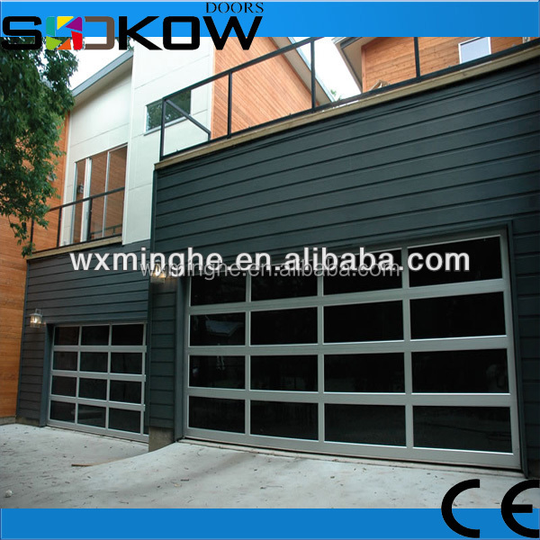 Tempered glass sectional garage door aluminum garage door for Sectional glass garage door