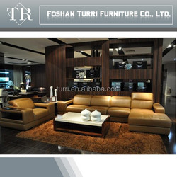 2015 American style yellow leather corner sofa for sale