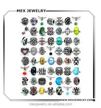 Bulk Silver Crystal Glass Beads Charms for Snake Chain Charm Bracelets Making