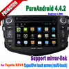 Pure android dvd player for toyota rav4 dvd gps navigation with 3G WIFI radio TV Auxin mp3 mp4 mirror link wifi hotspot OBD