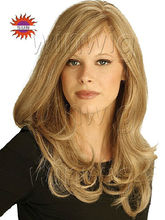 good look 16inch virgin european human hair natural straight middle part lace front wig with bang for white women