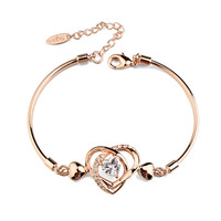 Italina Red Apple popular jewelry gold plated heart to heart bracelet with clear zircon for cute girls