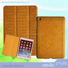 High quality leather tablet case For ipad, 3 folds case for ipad mini