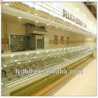 Curvo glas, armazenar e fonte de supermercado, fritar alimentos display case