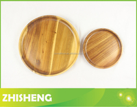 CND-W20S Rounded acacia wood plate, 2-pieces wood Chip & Dip dish set, wooden serving tray