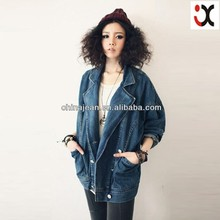 Best selling denim jacket for women wholesale lady leisure jean outerwear JXQ514
