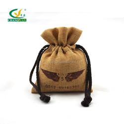 custom printing mini jute bag with drawstring
