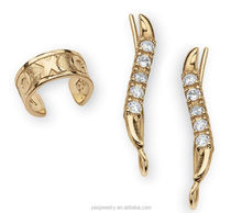 18k gold plated 3A zircon 925 Sterling Silver Ear Pins and Ear Cuff wholesale