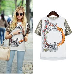 women top Europe station 2014 summer new European and American women's wholesale T-shirt printing star with T-shirt 3923 women b