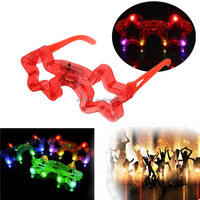 Plastic Frame Five-pointed Star LED Glasses for Party Use Flashing Glasses Masquerade Flash Mask