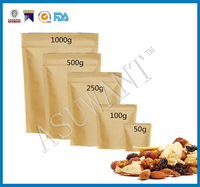 Factory Manufacturer Kraft Paper Packaging Bags For Nuts / FDA Food Paper Bags 50g , 100g , 250g , 500g , 100g