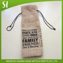 Custom logo printing drawstring jute wine bottle bag