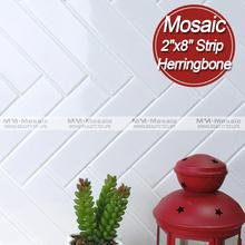 """2 """" x 8 """" de la tira de espiga baño diseño de cerámica del azulejo de mosaico por mayor de China"""