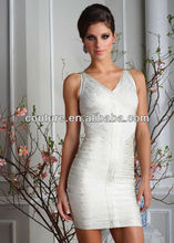Sexy Shoulders V-neckline Ruffle White Satin Girl Party Dresses 2013 juniors sexy girls cocktail dresses OC002