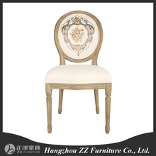 Best Seller Vintage french round back fabric side dining chair Louis style American White house rental chair