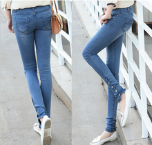 2015 AUTUMN STYLISH LADIES JEANS STRETCH FEET PANTS WITH BUTTON DESIGN
