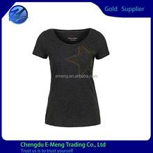 New Fashion Designed Round Neck Combed Cotton Women Tshirt