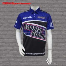 Blue Oem Print Racing Shirt Motorcycle & Auto Racing Wear
