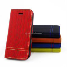 New product 2014 best price for iphone5/5S Canvas stripe clamshell mobile phone holster with a mobile phone support