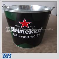 Metal beer bottle cooler holder with company logo